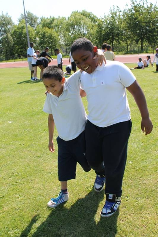 Sports Day 3 Legged Race Brecknock Primary School
