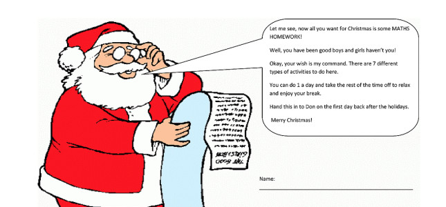 Don's Maths Group – Christmas Homework